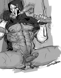 6+boys abs anal bara cum gangbang group_sex handjob looking_at_viewer male_focus mask monochrome multiple_boys muscle orgy overwatch pecs penetration penis_grab reaper_(overwatch) scar sex yaoi
