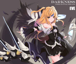 1girl black_dress black_feathers black_ribbon black_wings blonde_hair code:_battle_seraph_(elsword) collar detached_sleeves dress elsword eve_(elsword) faefaea feathered_wings hair_ribbon highres ribbon solo two_side_up wings