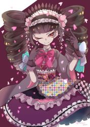 1girl artist_name black_hair bow celestia_ludenberck checkered danganronpa danganronpa_1 dress drill_hair eyelashes floral_print flower frills gloves gothic_lolita headband heart japanese_clothes lace_trim lolita_fashion long_hair looking_at_viewer one_eye_closed pale_skin patterned_clothing petals red_eyes shiny shiny_hair simple_background smile solo text twintails wide_sleeves yakigurigohan