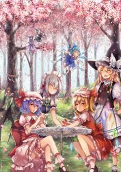 6+girls ankle_cuffs apron artist_name bat_wings beret blonde_hair blouse blue_hair book bow bowtie braid brooch cake chair cherry_blossoms china_dress chinese_clothes cirno cloak crane_stance crescent_moon dress eyes_closed fang flandre_scarlet flying food frown fruit grass grey_hair hair_bow hand_on_another's_head hat hat_ornament head_wings highres hong_meiling ice ice_wings in_tree izayoi_sakuya jewelry jumping kanekiru kirisame_marisa knee_up koakuma laughing lavender_hair legs_crossed long_hair maid maid_apron maid_headdress mob_cap moon multiple_girls nail_polish open_mouth patchouli_knowledge patting_head puffy_sleeves purple_hair red_eyes red_hair remilia_scarlet rope shimenawa shoes short_hair side_braid side_ponytail sitting sitting_in_tree skirt skirt_set smile star strawberry striped striped_dress table tablecloth touhou tree twin_braids vest watermark web_address wings witch_hat