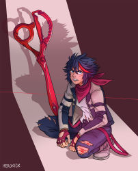 1girl bared_teeth black_hair blood blue_eyes denim fingerless_gloves gloves herokick highres jeans kill_la_kill letterman_jacket looking_at_viewer matoi_ryuuko neckerchief older pants planted_weapon scissor_blade scratches short_hair solo squatting torn_clothes torn_jeans weapon