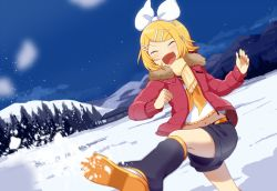 1girl blonde_hair bow building eyes_closed hair_bow hair_ornament hairclip happy jacket kagamine_rin kicking legs navel nokuhashi open_mouth scarf shoes shorts sky smile snow solo thighs tree vocaloid