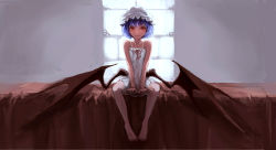 1girl bare_arms bare_legs bare_shoulders barefoot bed bed_sheet between_legs closed_mouth dress facing_viewer fang flat_chest frills full_body hand_between_legs hat highres koog looking_at_viewer mob_cap nightgown on_bed open_eyes purple_hair red_eyes red_wings remilia_scarlet ribbon short_hair sitting sitting_on_bed sleeveless sleeveless_dress solo touhou vampire white_dress window wings