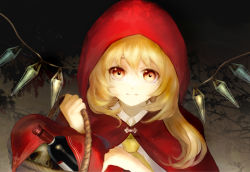 1girl alcohol alternate_costume ascot basket blonde_hair bottle cape commentary cosplay flandre_scarlet holding hood keiko_(mitakarawa) little_red_riding_hood little_red_riding_hood_(cosplay) little_red_riding_hood_(grimm) looking_at_viewer skull smile solo touhou upper_body wine wine_bottle wings yellow_eyes