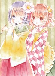 2girls apron bell blush calligraphy_brush checkered_shirt flower hair_bell hair_flower hair_ornament hakama hand_on_own_cheek hand_up hieda_no_akyuu japanese_clothes kagome_f kimono motoori_kosuzu multiple_girls one_eye_closed open_mouth paintbrush pink_eyes pink_hair purple_eyes purple_hair shirt short_hair smile touhou traditional_media twintails watercolor_(medium)