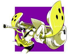 1girl arm_behind_head bangs blonde_hair blunt_bangs cowboy_shot domino_mask dutch_angle frightening_(zoza) from_side hand_on_headwear hat holding japanese_clothes mask oversized_object paint_roller short_sleeves shorts single_vertical_stripe solo splatoon tentacle_hair twintails yellow_eyes zoza