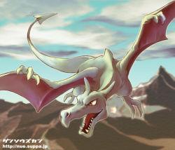 aerodactyl artist_request no_humans pokemon solo web_address