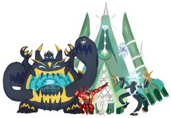 buzzwole celesteela conmimi detached_arms everyone facing_viewer floating guzzlord horns insect_wings kartana looking_at_viewer nihilego nintendo open_mouth pheromosa pokemon pokemon_(creature) pokemon_(game) pokemon_sm pose size_difference smile standing standing_on_one_leg tail ultra_beast video_game wings xurkitree