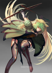 1girl absurdres ahoge animal_ears archer_of_red blonde_hair bow_(weapon) cat_ears character_name copyright_name fate/apocrypha fate/grand_order fate_(series) full_body gloves gradient_hair green_eyes green_hair highres long_hair looking_at_viewer multicolored_hair reido smile solo tail thighhighs two-tone_hair weapon
