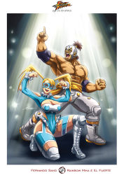 1boy 1girl breasts cleavage el_fuerte elbow_pads fernando_sano highres knee_pads large_breasts long_hair luchador luchador_mask mexican muscle one_knee rainbow_mika shirtless street_fighter street_fighter_iv street_fighter_zero topknot twintails wrestling_outfit