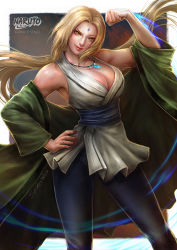 1girl bare_shoulders blonde_hair breasts cleavage facial_mark flexing forehead_mark highres japanese_clothes large_breasts long_hair naruto pose realistic sash smile solo spiderwee tsunade yellow_eyes