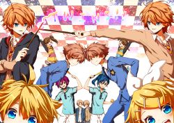 ! :d ahoge aiming arms_up asaba_yuuki asaba_yuuta ball bangs blazer blonde_hair blue_eyes blue_hair blush brother_and_sister brothers brown_eyes brown_hair checkered checkered_background crossed_arms crossover dress_shirt eyes_closed fred_weasley frilled_skirt frills futami_ami futami_mami george_weasley green_eyes hair_ornament hair_ribbon hairclip harry_potter head_out_of_frame head_to_head headphones highres hitachiin_hikaru hitachiin_kaoru holding holding_weapon hood_down idolmaster jumping kagamine_len kagamine_rin kapirusu kimi_to_boku leaning_forward leaning_on_person long_hair long_sleeves looking_at_another looking_at_viewer looking_to_the_side multiple_crossover necktie open_mouth ouran_high_school_host_club pants parted_lips purple_hair racket raised_hand red_hair ribbon school_uniform seiyuu_connection shirt shoes short_hair short_sleeves shorts siblings side_ponytail sisters skirt smile sportswear striped striped_necktie sweater symmetrical_pose symmetry tanaka_kouhei tanaka_youhei tennis_ball tennis_no_ouji-sama tennis_racket text trait_connection twins v vocaloid wand white_shirt yellow_eyes zipper