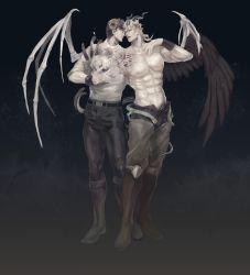 243_(jel) 2boys bone dio_brando guro horns jojo_no_kimyou_na_bouken jonathan_joestar multiple_boys muted_color siamese_twins skull wings