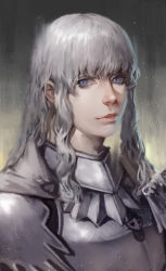 1boy armor berserk blue_eyes breastplate cape danial griffith highres lips long_hair looking_at_viewer male_focus portrait sidelocks solo white_hair