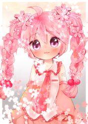 1girl ahoge blush braid detached_sleeves flower hair_flower hair_ornament hatsune_miku long_hair looking_at_viewer mami_(sweetcandy) necktie pink_eyes pink_hair sakura_miku solo twin_braids twintails vocaloid