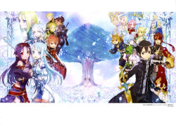 6+girls abec absurdres ahoge animal_ears asuna_(sao) asuna_(sao-alo) black_eyes black_gloves black_hair black_legwear blue_eyes blue_hair cat_ears character_request detached_sleeves erika_(sao) fingerless_gloves freyja_(sao) gloves hair_ornament hairband hand_holding highres kirito kirito_(sao-alo) klein klein_(sao-alo) lisbeth lisbeth_(sao-alo) long_hair looking_at_viewer multiple_girls open_mouth orange_hair pink_hair purple_hair red_eyes red_hair shinon_(sao) shinon_(sao-alo) short_hair silica silica_(sao-alo) skirt smile sword sword_art_online thighhighs thor_(sao) thrym_(sao) tree weapon yui_(sao) yui_(sao-alo) yuuki_(sao)