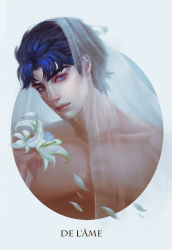 1boy blue_eyes blue_hair flower french highres jojo_no_kimyou_na_bouken jonathan_joestar lily_(flower) misaki03011992 realistic solo veil