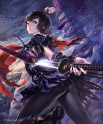 1girl ass bangs black_boots black_hair black_legwear black_skirt boots closed_mouth dutch_angle fantasy gauntlets green_eyes highres hisakata_souji holding holding_ribbon holding_sword holding_weapon looking_at_viewer looking_back official_art outdoors pantyhose pleated_skirt purple_ribbon red_neckerchief ribbon sailor_collar school_uniform serafuku shadowverse sheath shingeki_no_bahamut short_hair skirt solo sword tassel thighs tsubaki_(shingeki_no_bahamut) unsheathing watermark weapon