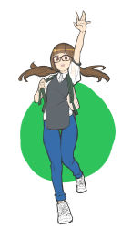 1girl absurdres arm_up backpack bag black-framed_glasses brown_eyes brown_hair casual denim flat_chest full_body highres jeans long_hair low_twintails makai original pants shoes sketch sneakers solo thigh_gap twintails walking waving