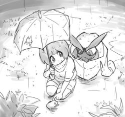bowl_cut bush curious frog grass gyosone kill_la_kill kneeling looking_back mankanshoku_mako monochrome poking raincoat senketsu shorts sleeves_rolled_up smile tareme umbrella