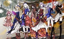 6+girls albino animal_ears architecture arm_at_side arrow bamboo bamboo_forest bangs belt black_hair black_jacket black_legwear blazer blonde_hair blouse blue_bow blue_dress blue_hair blue_jacket blunt_bangs boots bow bow_(weapon) breasts brown_eyes bunny_ears bunny_tail closed_mouth collared_shirt constellation dress east_asian_architecture fan fighting_stance floating_hair folding_fan forest frilled_sleeves frills frown full_moon gun hair_between_eyes hair_bow hat hat_bow hat_ribbon high_heel_boots high_heels highres holding holding_fan holding_gun holding_weapon houraisan_kaguya imperishable_night inaba_tewi jacket japanese_clothes katana kimono kneehighs legs_apart lineup long_hair long_skirt long_sleeves looking_to_the_side miniskirt mob_cap moon multiple_girls nature nurse_cap pigeon-toed pleated_skirt profile puffy_short_sleeves puffy_sleeves purple_boots purple_hair ready_to_draw red_boots red_dress red_eyes red_ribbon red_shoes red_skirt reisen reisen_udongein_inaba ribbon ribbon-trimmed_skirt shirt shoes short_sleeves skirt skirt_set sleeves_past_wrists small_breasts socks sword tail thighhighs touhou traditional_media watatsuki_no_toyohime watatsuki_no_yorihime wavy_hair weapon white_hair white_hat white_legwear white_skin white_skirt wide_sleeves wristband yagokoro_eirin yellow_bow yellow_eyes yutapon