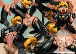 2boys adrien_agreste ahegao all_fours anal androgynous anus ass ass_cutout ass_grab bent_over blonde_hair bodysuit cat_ears chat_noir cum cum_in_ass cum_on_ass domino_mask fucked_silly green_eyes heart idlecil large_penis latex latex_suit miraculous_ladybug multiple_boys penis sequential sex spread_ass testicles tongue torn_bodysuit yaoi