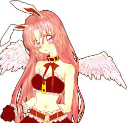 1girl angel_wings animal_ears arm_behind_back bare_shoulders bow bowtie bunny_ears choker feathered_wings full_moon_wo_sagashite gloves head_tilt meroko_yui midriff no_hat parted_lips pink_eyes pink_hair ribbon solo white_background wings wrist_cuffs yoshika_(draw-happy-picture)