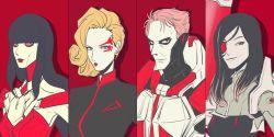 1boy 3girls alien ambra battleborn beatrix_(battleborn) black_hair blonde_hair cyborg deande lipstick makeup mechanical_eye multiple_girls red_eyes verod_rath