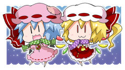 2girls :3 ascot bat_wings blonde_hair blue_hair blush bow brooch buttons chibi commentary_request crystal detached_wings dress flandre_scarlet full_body gradient gradient_background hat hat_bow jewelry mob_cap multiple_girls noai_nioshi open_mouth patch pink_dress pink_hat puffy_short_sleeves puffy_sleeves red_bow red_eyes red_skirt red_vest remilia_scarlet ribbon-trimmed_clothes ribbon_trim scarf short_hair short_sleeves siblings side_ponytail sisters skirt skirt_set snow touhou vest white_hat wings |_|