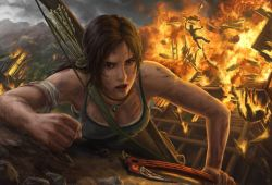 1girl bow brown_eyes brown_hair cloud earth fire lara_croft long_hair open_mouth smoke solo standing tank_top tomb_raider tree weapon