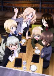6+girls absurdres anchovy cup darjeeling girls_und_panzer highres katyusha kay_(girls_und_panzer) multiple_girls nishizumi_maho nonna short_hair skirt tea teacup twintails