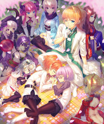 1boy 6+girls :d absurdres alcohol ass back black_gloves black_legwear blonde_hair blue_eyes blurry bow braid brown_eyes brown_hair cherry_blossoms cup depth_of_field detached_sleeves elbow_gloves fate/extra fate/extra_ccc fate/grand_order fate_(series) fujimaru_ritsuka_(female) glasses gloves hair_bow hair_bun hair_ribbon headpiece highres horns indian_style japanese_clothes jeanne_alter jeanne_alter_(santa_lily)_(fate) kimono koha-ace lancer_(fate/extra_ccc) leonardo_da_vinci_(fate/grand_order) long_hair multiple_girls nursery_rhyme_(fate/extra) one_side_up oni_horns open_mouth orange_hair pantyhose petals pleated_skirt ponytail purple_eyes purple_hair ribbon romani_akiman ruler_(fate/apocrypha) saber_extra sakazuki sake sakura_saber shielder_(fate/grand_order) shinsengumi short_hair shuten_douji_(fate/grand_order) silver_hair sitting skirt sleeping smile tail thighhighs tonchan twin_braids wariza white_gloves wind yukata zettai_ryouiki