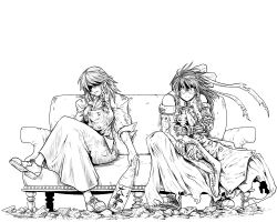 2girls cosplay couch detached_sleeves fingerless_gloves glasses gloves hakurei_reimu highres kirisame_marisa ledjoker07 legs_crossed monochrome multiple_girls nicholas_d_wolfwood parody sitting spoilers sunglasses touhou trench_coat trigun trigun_maximum vash_the_stampede vash_the_stampede_(cosplay)