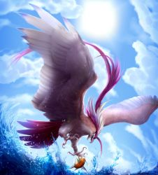 beak blue_sky claws clouds epic feathers gradient_background long_hair magikarp mega_pidgeot mega_pokemon nintendo pidgeot pokemon realistic sea sky sun