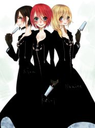 3girls alternate_costume black_hair blonde_hair blue_eyes cloak food gloves hikiganeharaiko ice_cream kairi kingdom_hearts kingdom_hearts_358/2_days multiple_girls namine red_hair xion_(kingdom_hearts)