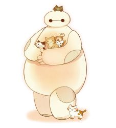 :3 ayu_(mog) baymax big_hero_6 black_eyes cat eyes_closed holding_animal looking_at_viewer one_eye_closed simple_background solo standing white_background