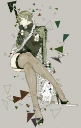 1boy androgynous bone bottomless collared_shirt crossdressing full_body garters green_hair grey_background high_heels horns katana legs_crossed looking_at_viewer male_focus personification pointy_ears profile simple_background sitting skeleton skull snj solo sword thighhighs touken_ranbu uguisumaru weapon