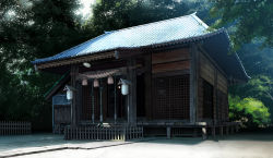 architecture branch building day east_asian_architecture highres mogumo no_humans original plant rope scenery shadow shimenawa shrine tree