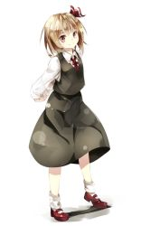 1girl arms_behind_back blonde_hair blush collared_shirt commentary date_pun gorilla_(bun0615) hair_ribbon hands_clasped highres long_sleeves looking_at_viewer mary_janes number_pun red_eyes red_shoes ribbon rumia shirt shoes short_hair skirt smile socks solo touhou vest