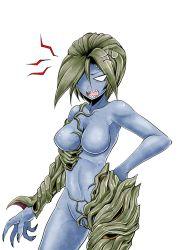 1girl alexia_ashford angry blue_skin breasts curvy erect_nipples female highres monster_girl resident_evil resident_evil_code_veronica