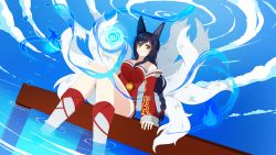 1girl ahri animal_ears bare_shoulders black_hair breasts cloud collarbone detached_sleeves energy_ball facial_mark fox_ears fox_tail korean_clothes large_breasts league_of_legends long_hair looking_at_viewer multiple_tails savi_(byakushimc) sitting slit_pupils solo tail water whisker_markings yellow_eyes