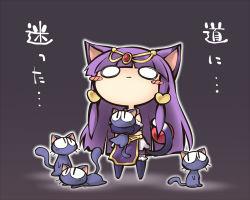 1girl animal_ears bangs blush_stickers cat cat_ears cat_tail chibi long_hair nekoguruma popoie purple_hair puyopuyo sharuru_(dokidoki!_precure) sidelocks tail thighhighs