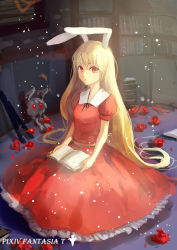 1girl absurdly_long_hair animal_ears blonde_hair book book_stack bookshelf bunny_ears commentary dress flower highres library long_hair looking_at_viewer original pixiv_fantasia pixiv_fantasia_t puffy_short_sleeves puffy_sleeves red_dress red_eyes red_rose rose short_sleeves sishenfan solo stuffed_animal stuffed_bunny stuffed_toy very_long_hair