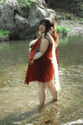 asian black_hair bra breasts fat female large_breasts luu_(cosplayer) nature outdoors photo river scarf solo water