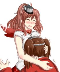2girls :d artist_name blush breast_smother breasts brown_hair dated dress drie eyes_closed hat hug kantai_collection long_sleeves magatama multiple_girls open_mouth ryuujou_(kantai_collection) saratoga_(kantai_collection) short_sleeves simple_background smile trembling twintails visor_cap white_background white_dress zipper