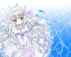 11eyes 1girl blue_eyes blush dress headdress highres inose_riku lissete_vertorre long_hair looking_at_viewer silver_hair solo sparkle