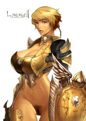 1girl armor blonde_hair bottomless breasts copyright_name gold_armor highres hume large_breasts lineage lineage_2 looking_at_viewer no_panties parted_lips pubic_hair rennes shield short_hair simple_background slender_waist solo tagme thigh_gap uncensored
