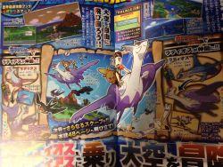 latias latios magazine mega_latias mega_latios mega_pokemon nintendo official_art pokemon pokemon_oras scan taillow torchic wingull