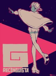 1girl boots braid gundam gundam_g_no_reconguista monochrome raraiya_monday solo thighhighs twin_braids yukataro