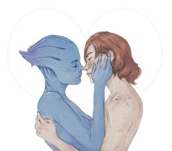 2girls alien asari asymmetrical_docking bald blue_skin bluescreen_queen breast_press breasts commander_shepard commander_shepard_(female) couple eyes_closed freckles hug liara_t'soni mass_effect multiple_girls noses_touching nude red_hair short_hair small_breasts yuri